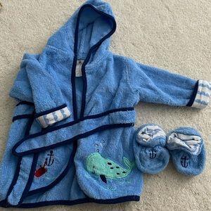 Baby Boy 0-9 Month Robe & Slipper Set